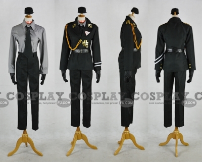 Prussia Cosplay (Uniform,Black) from Axis Powers Hetalia