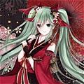 Miku Cosplay (Red Sakura Kimono) from Vocaloid