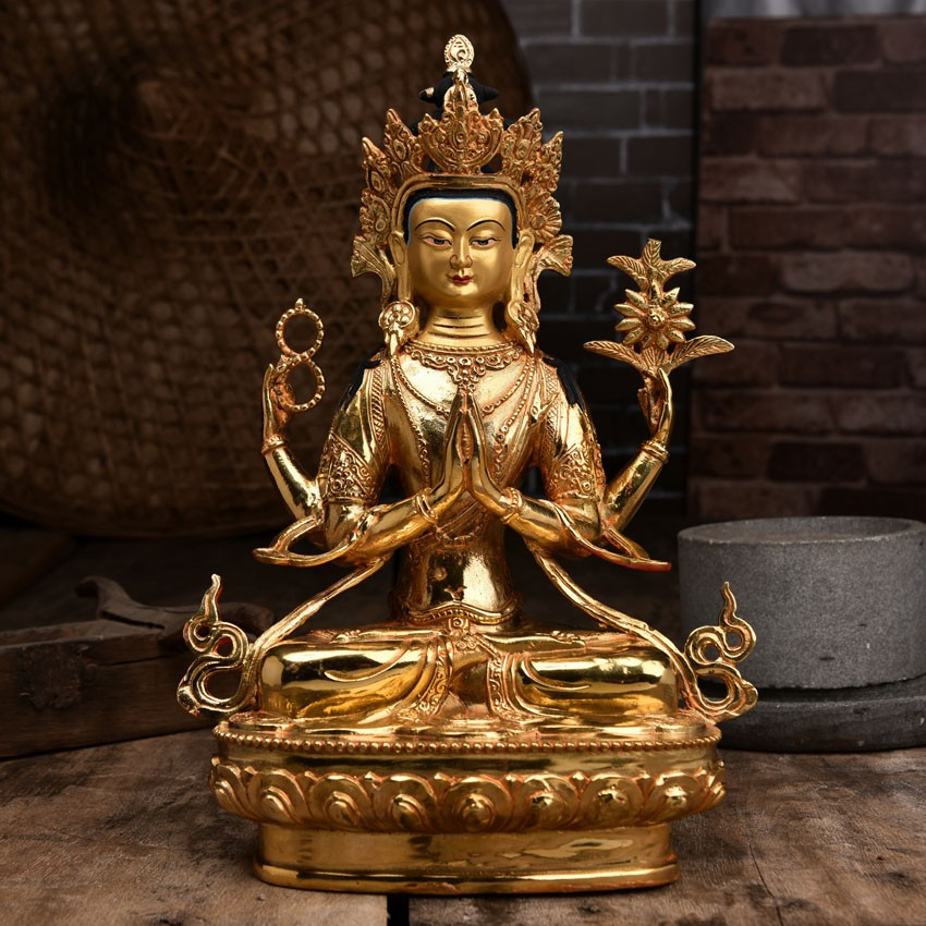 Buy Antique Handcrafted Buddha Lantern For Corporate: Handmade Tibetan Bronze Four-arms Avalokiteshvara Seated
