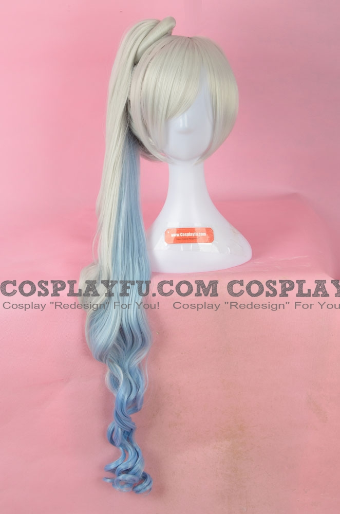 Long Curly Mixed Silver and Blue Wig (2537)