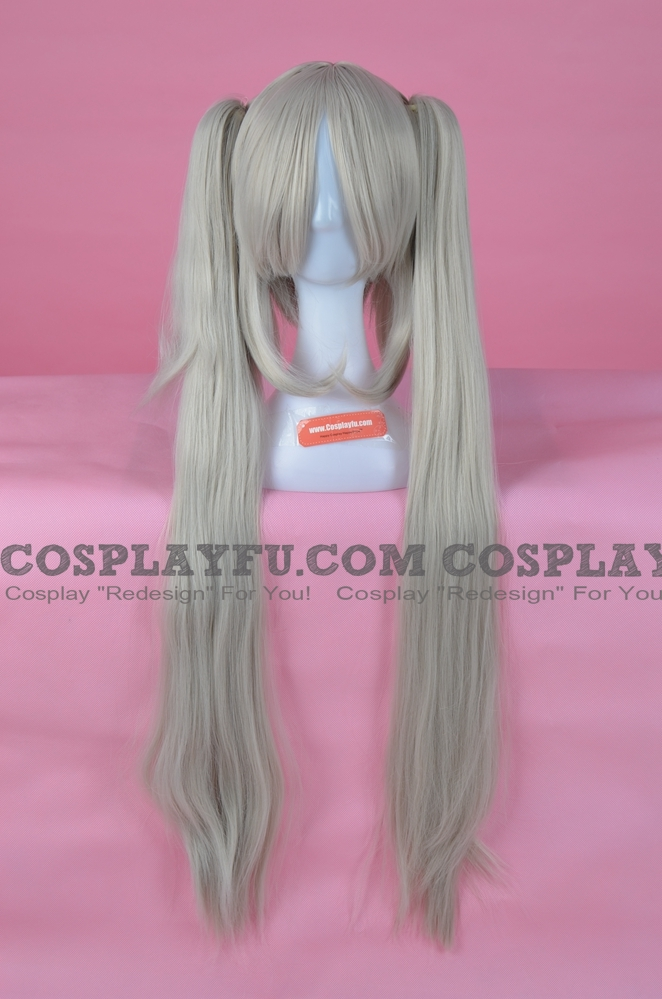 Long Straight Twin Pony Tails Silver Grey Wig (2890)