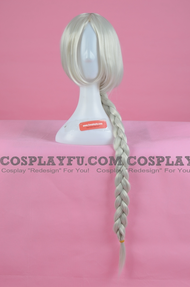 Long Straight White Braid Wig (3475)