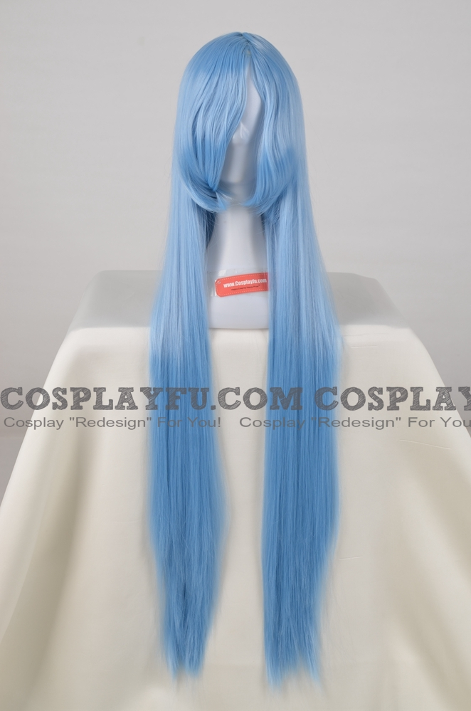100 cm Long Straight Blue Wig (4553)