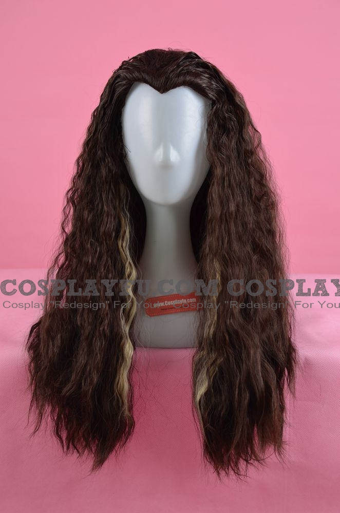 65 cm Long Curly Mixed Black and White Wig (8295)