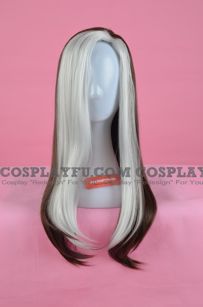 70 cm Long Mixed White and Brown Wig (8097)