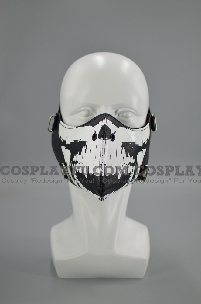 Punk Face Mask for Adults (PU, Reusable) Skull with Rivets (8818)