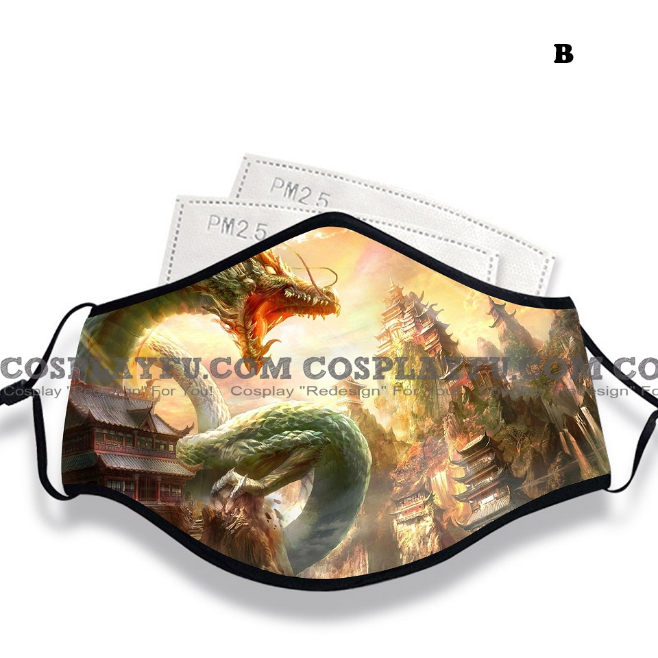 Japanese Dragon Face Mask for Adults (Cotton, Washable, Reusable) with Pocket with Nose Wire