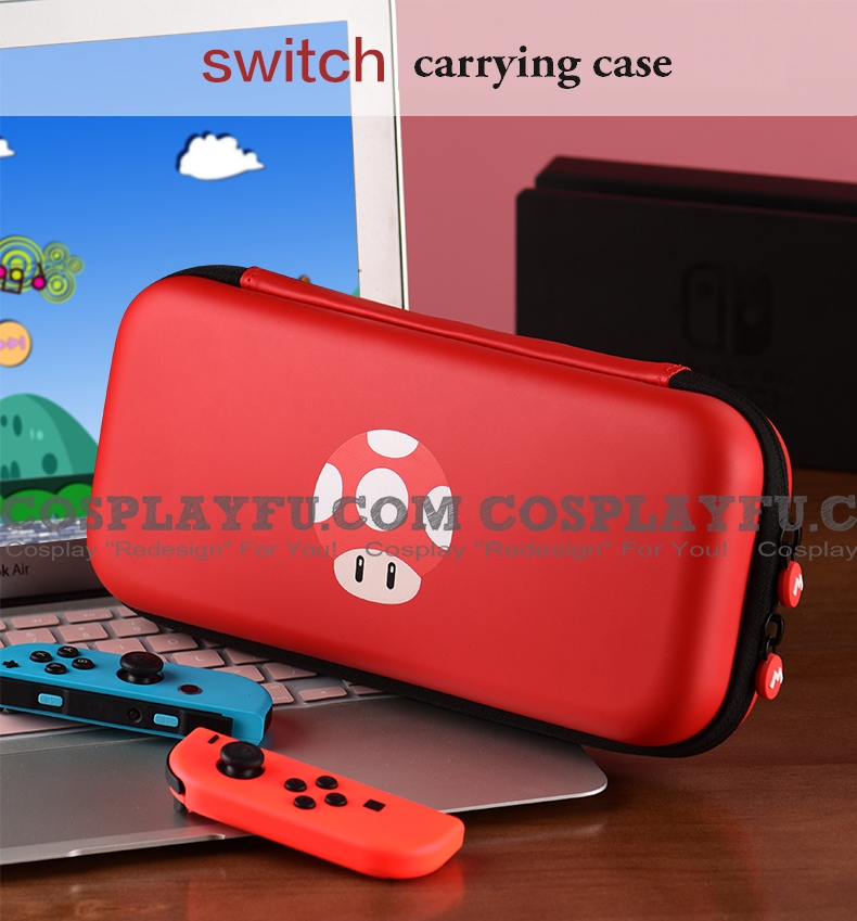 Cute Mario Red Mushroom Nintendo Switch Carrying Case - 10 Game Cards Holding