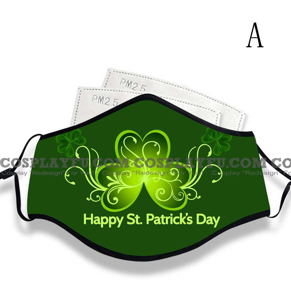 St Patrick's Day Face Mask for Adults (Cotton, Washable, Reusable) with Pocket with Nose Wire
