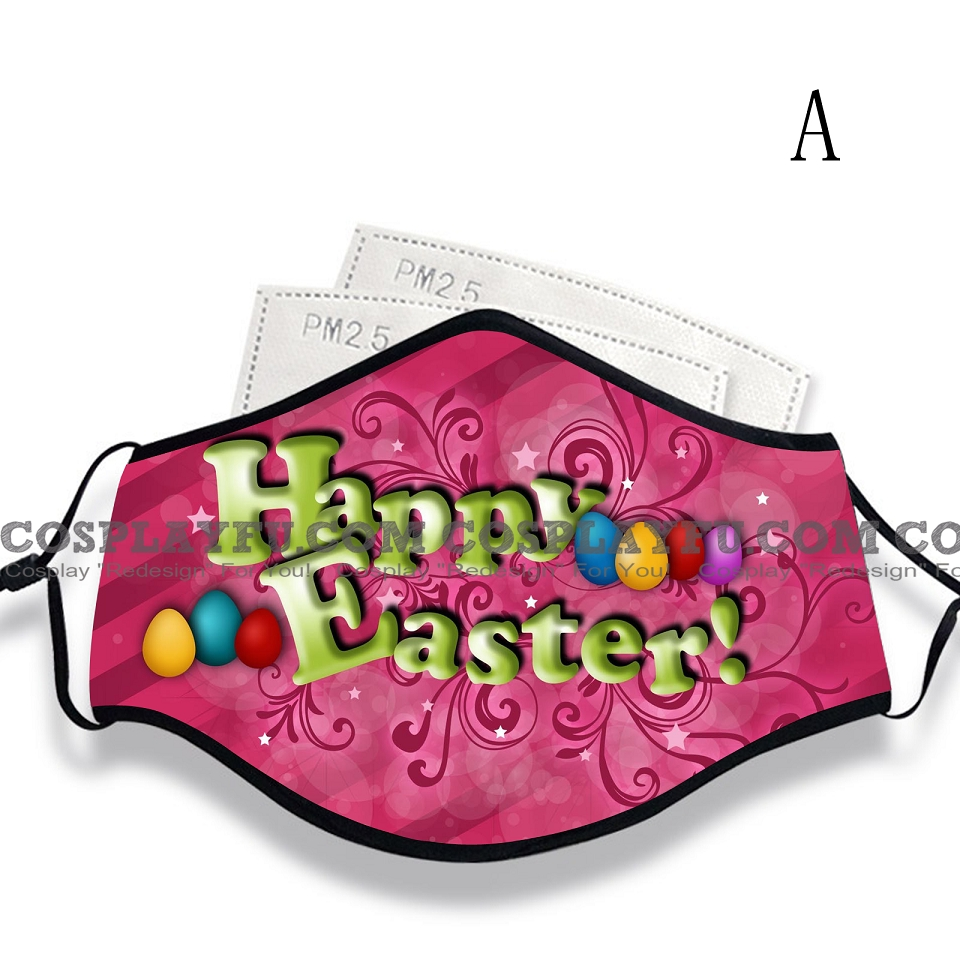 Easter Face Mask for Adults (Cotton, Washable, Reusable) with Pocket with Nose Wire