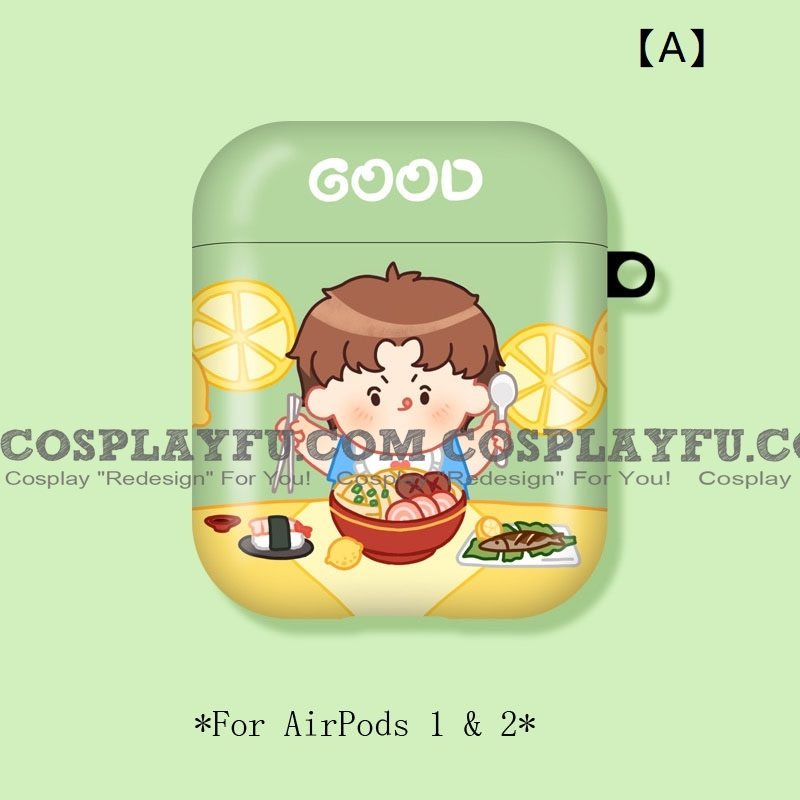 Lovely Boy with Noodles   Airpod Case   Silicone Case for Apple AirPods 1, 2, Pro Cosplay (81525)