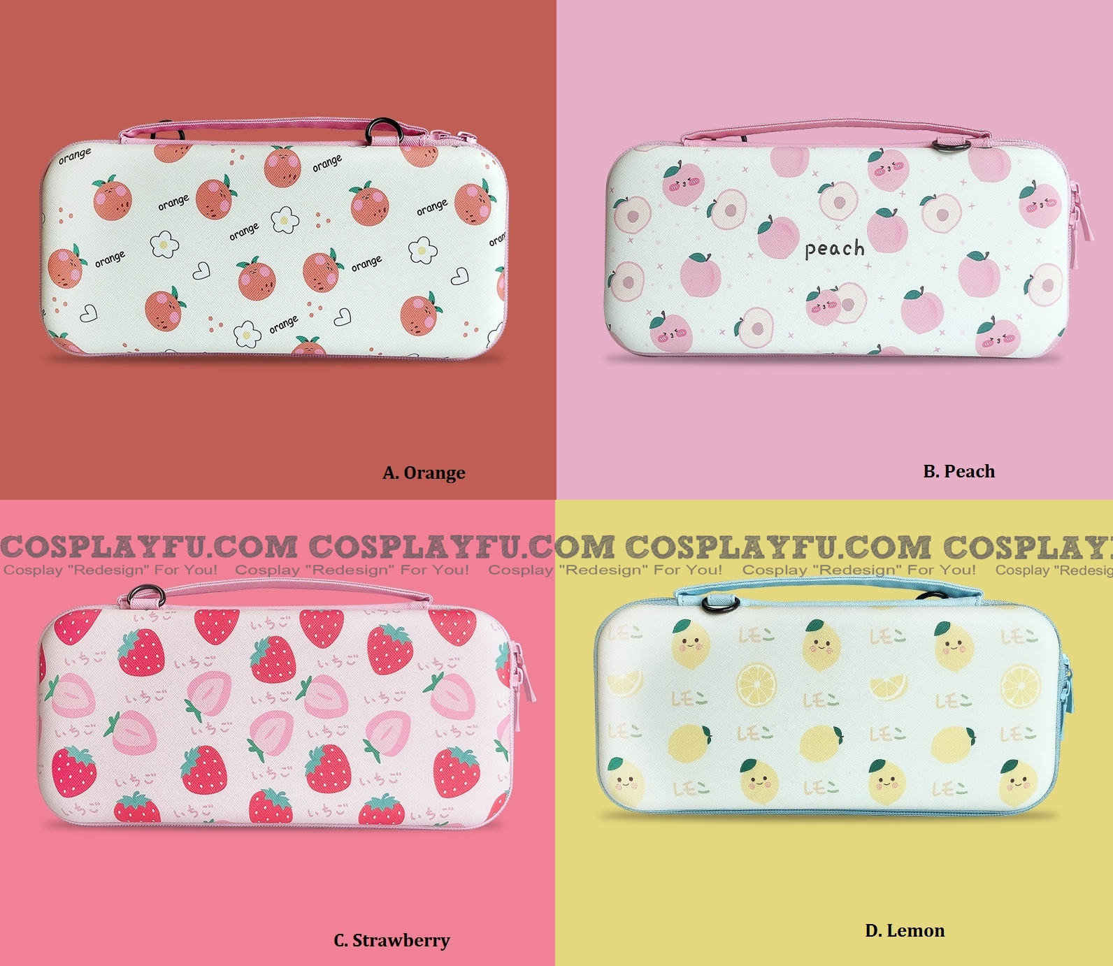 Cute Cartoon Fruits Orange Peach Strawberry Lemon Nintendo Switch Carrying Case - 12 Game Cards Holding