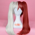 Medio Twin Pony Tails Mixed Blanco y Rojo Peluca (3005)