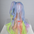 100 cm Long Pony Tail Mixed Blue and Pink Wig (8892)
