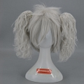 Medium Straight Twin Pony Tails White Wig (8159)