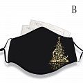 Christmas Face Mask for Adults (Cotton, Washable, Reusable) with Pocket with Nose Wire