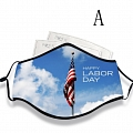Labor Day Face Mask for Adults (Cotton, Washable, Reusable) with Pocket with Nose Wire