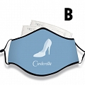 Cinderella Face Mask for Adults (Cotton, Washable, Reusable) with Pocket with Nose Wire