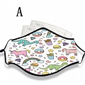 Reusable Washable Adjustable Adult Kids Face Mask • Dinosaur • Cotton • Lovely Animal with Filter Pocket Nose Wire