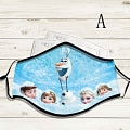 Reusable Washable Adjustable Adult Kids Face Mask • Frozen • Cotton • Lovely Animal with Filter Pocket Nose Wire