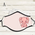 Reusable Washable Adjustable Adult Kids Face Mask • Elephant • Cotton • Lovely Animal with Filter Pocket Nose Wire (81572)