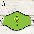 Reusable Washable Adjustable Adult Kids Face Mask • Grinch • Cotton • Lovely Animal with Filter Pocket Nose Wire (81572)