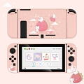 Pink Nintendo Switch Protection Cover - Strawberry and Rabbits