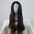 Nezuko Kamado Cosplay Costume Wig (3rd, Long, Curly, Black Mixed Brown) from Kimetsu no Yaiba